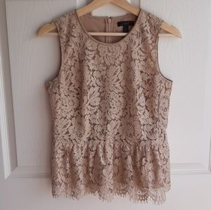 J Crew Sleeveless Tan Lace Peplum Top Shirt Size 2